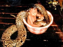 Funny photos - Bath the snake