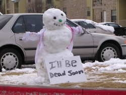 Funny photos - Snowman under the sun