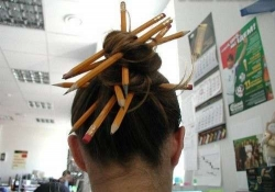 Funny photos - Pupil's hair style