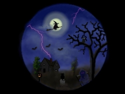 Halloween pictures - Witch under moonlight
