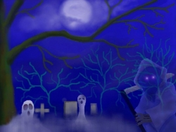 Halloween pictures - Graveyard under moonlight