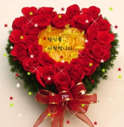 Flower pictures - Red rose heart!