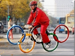 Sportsmen photo - Olympic ring shaped bicycle