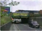 Funny stupid videos - A Bus Comes Back into a Bridge