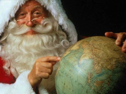 Christmas Wallpaper - Santa learns Geographic