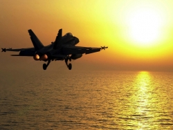 Military Wallpaper - F18 into the Sun