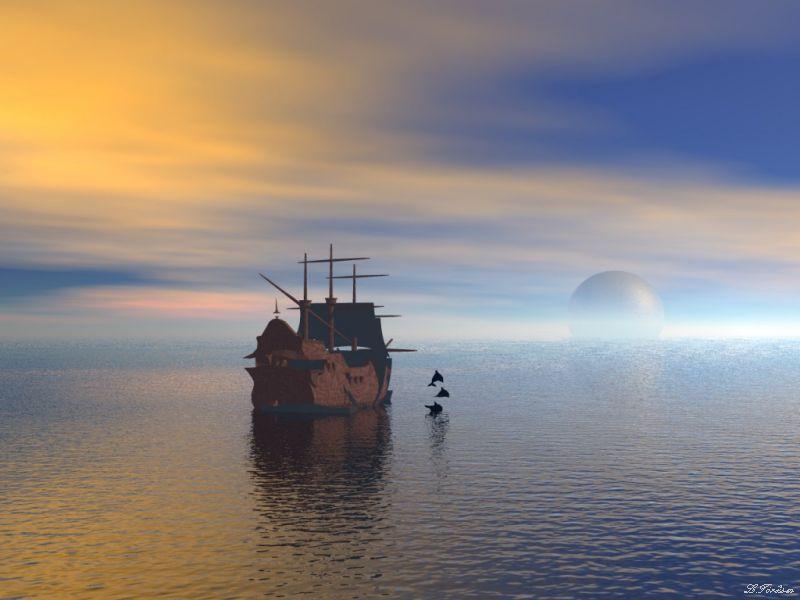Dolphin & boat