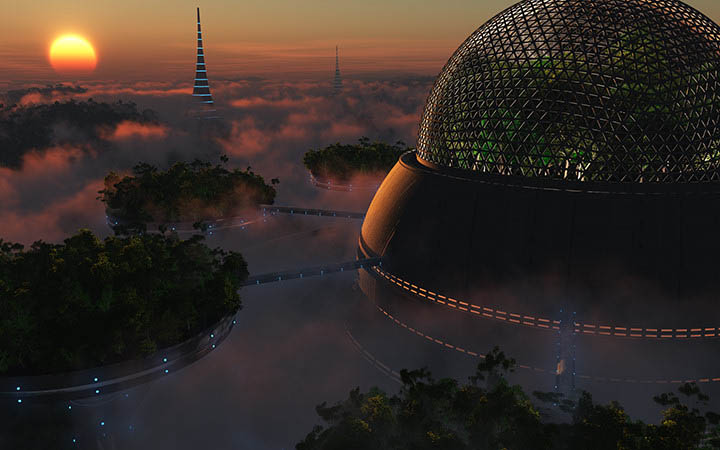 Biodome sunset