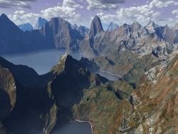 3D and Digital art Wallpaper - Mountain range
