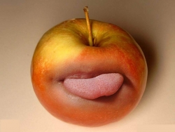 Funny Wallpaper - Apple's tongue