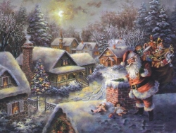 Christmas Wallpaper - Santa on chimney