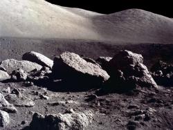 Space Wallpaper - Moon boulder