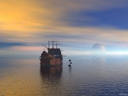 Landscape Wallpaper - Dolphin & boat