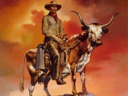 Art Wallpaper - Cowboy and ox