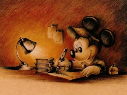 Animated/Cartoon Wallpaper - Mickey writes
