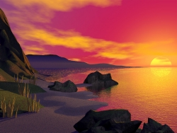 3D and Digital art Wallpaper - Sunset coast
