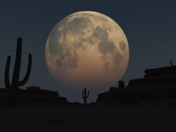 3D and Digital art Wallpaper - Desert moon