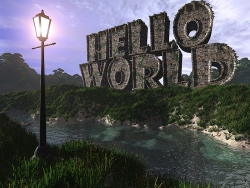 3D and Digital art Wallpaper - Hello world