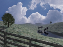 3D and Digital art Wallpaper - Horse pasture
