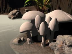 3D and Digital art Wallpaper - White mushrooms