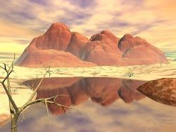 3D and Digital art Wallpaper - Red rocks