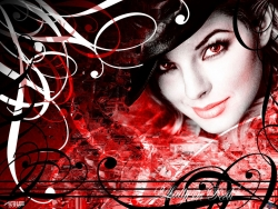 Music Wallpaper - Lady in red poster