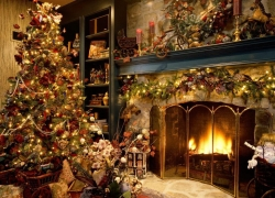 Christmas Wallpaper - Christmas tree inside the house