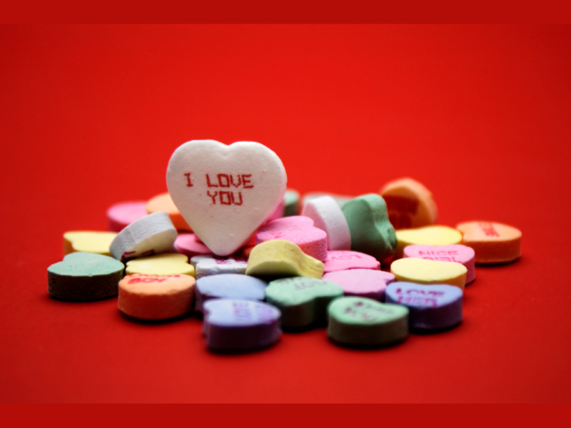 """ i love you"" candy"