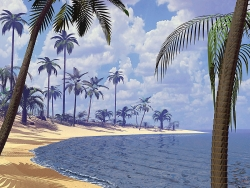 3D and Digital art Wallpaper - Secluded beach