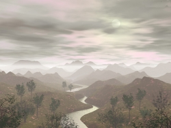 3D and Digital art Wallpaper - Winding river